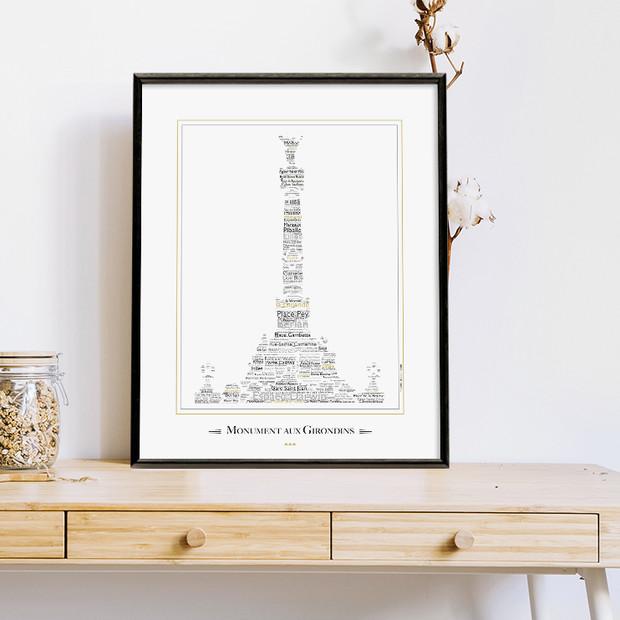 """Affiche de Bordeaux """"Monument aux Girondins"""""""