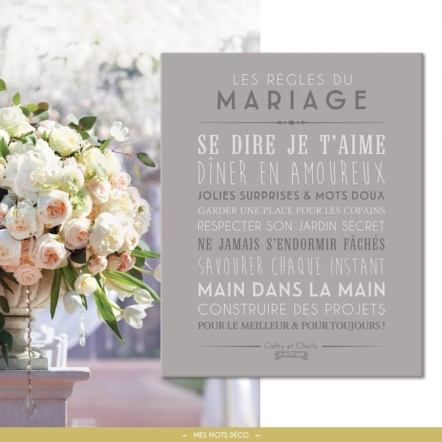 """Tableau personnalisable """"les règles du mariage"""", Mes Mots Déco"""