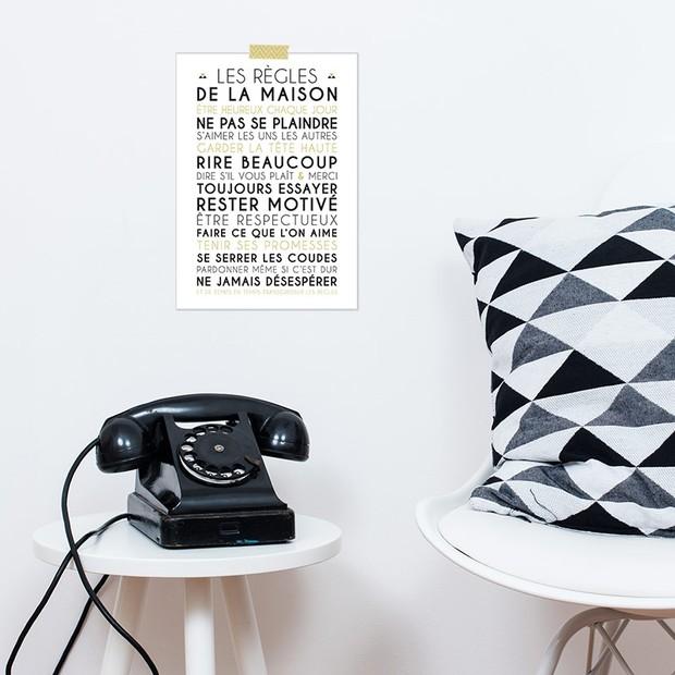 Les Règles de la Maison, fond blanc, Carte décorative, Mes Mots Déco