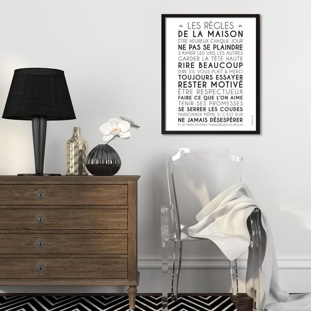 Règles de la Maison, fond blanc, affiche à encadrer, Mes Mots Déco
