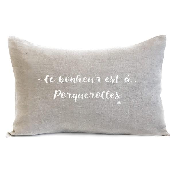 """Coussin citation """"Le Bonheur"""", Blanc - velours gris, Mes Mots Déco"""