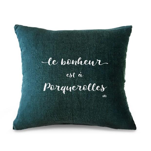 """Coussin citation """"Le Bonheur"""", bleu - velours blanc, Mes Mots Déco"""