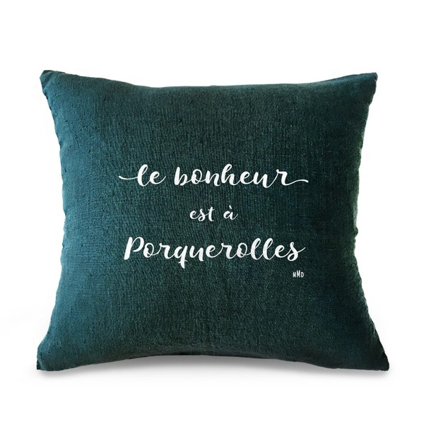 """Coussin citation """"Le Bonheur"""", Gris Galet - velours blanc, Mes Mots Déco"""