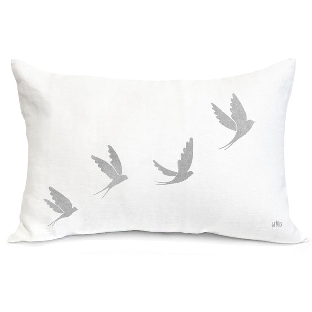 Coussin en lin Blanc - motif Hirondelles - 40x60 (Velours gris)