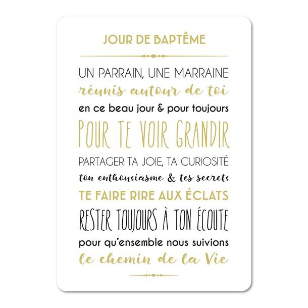 Jour de Baptême, carte décorative, fond blanc, Mes Mots Déco