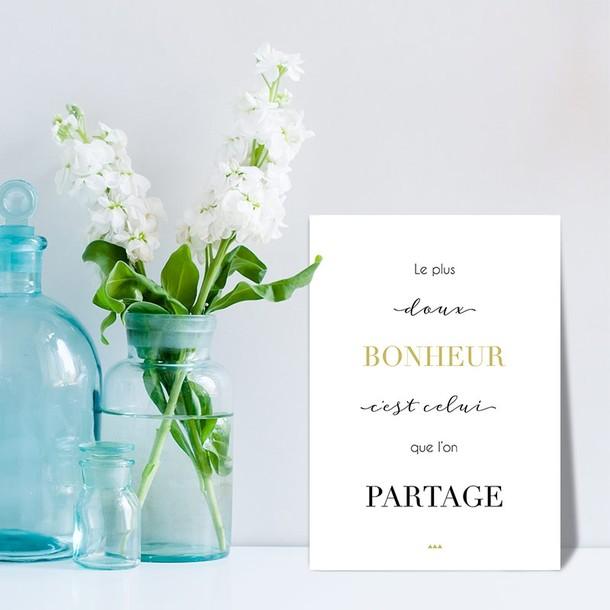 Doux Bonheur, fond blanc, Carte décorative, Mes Mots Déco