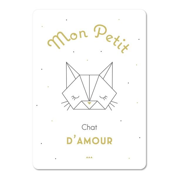 Mon Petit Chat, fond blanc à poids, Carte décorative, Mes Mots Déco