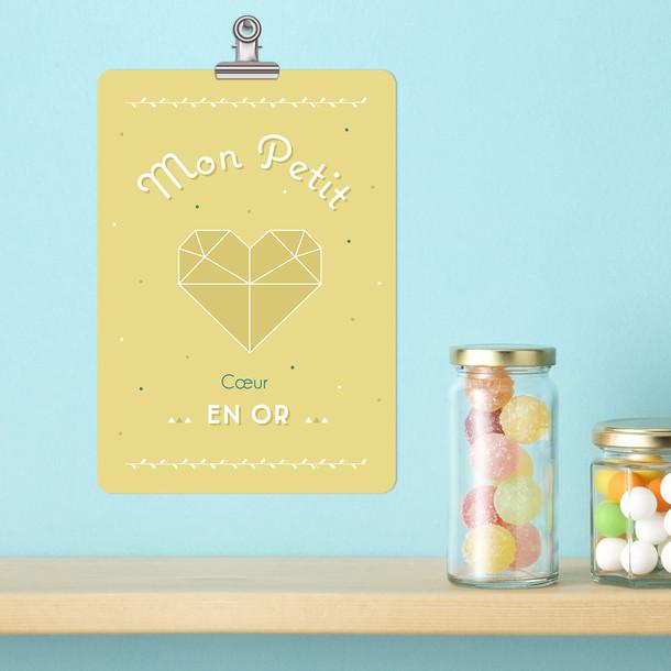Mon Petit Coeur, fond jaune curry, Carte décorative, Mes Mots Déco
