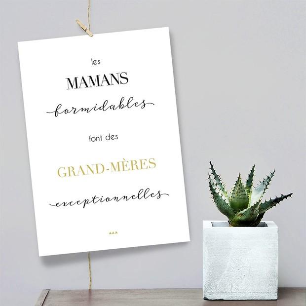 Grand-mères, fond blanc, Carte décorative, Mes Mots Déco