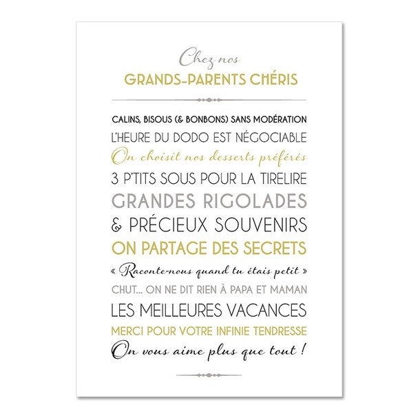 Grands Parents, fond blanc, Carte décorative, Mes Mots Déco