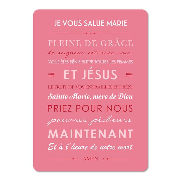 Je Vous Salue Marie , fond pink, Carte décorative, Mes Mots Déco