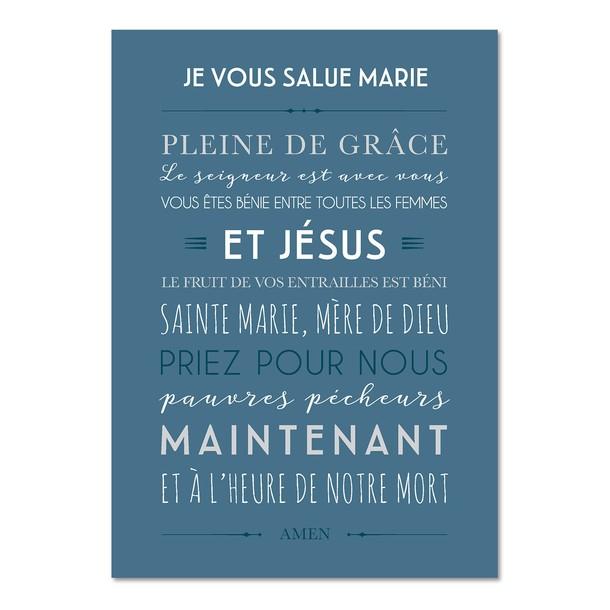 Je Vous Salue Marie , fond bleu, Carte décorative, Mes Mots Déco