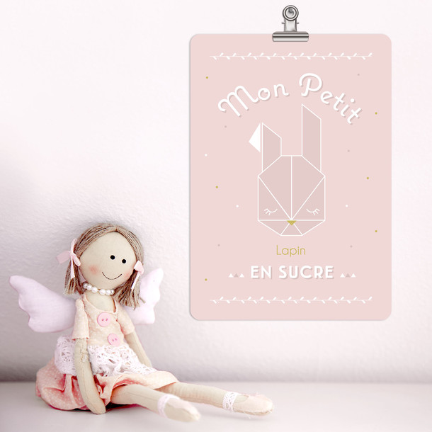 Mon Petit Lapin, fond rose poudré, Carte décorative, Mes Mots Déco