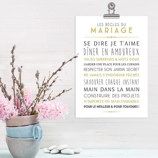 Les Règles du Mariage, fond blanc, Carte décorative, Mes Mots Déco