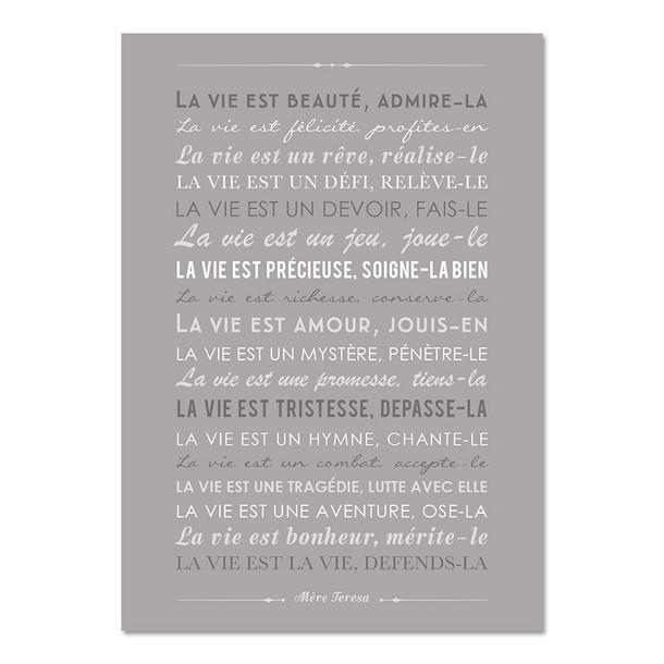 La Vie est Beauté, fond gris galet, carte décorative, Mes Mots Déco