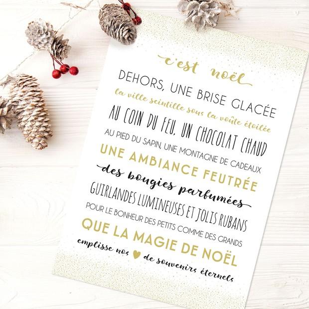 """Carte de Voeux """"C'est Noël"""" blanc/doré"""