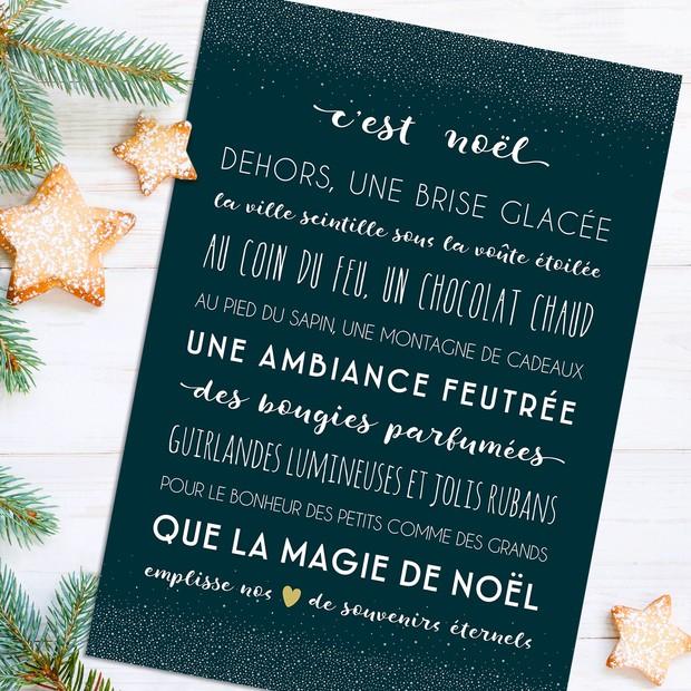 """Carte de voeux """"C'est Noël"""" bleu/blanc"""