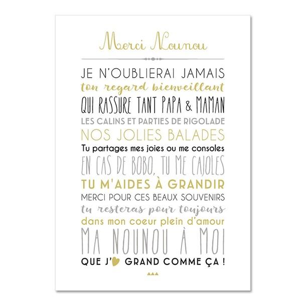 Chère Nounou, fond blanc, Carte décorative, Mes Mots Déco