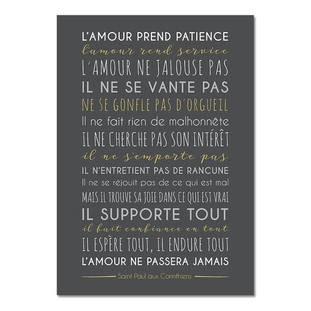 L'Amour prend Patience, fond carbone, carte décorative, Mes Mots Déco