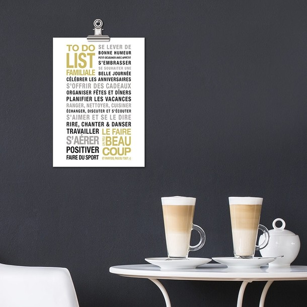 To Do List, carte décorative fond blanc, Mes Mots Déco