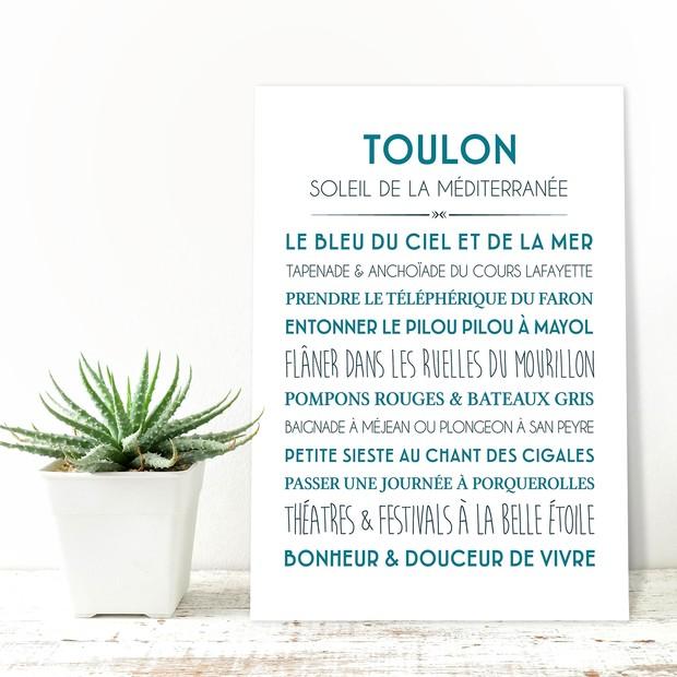 Affiche et Carte déco ville de Toulon, Mes Mots Déco