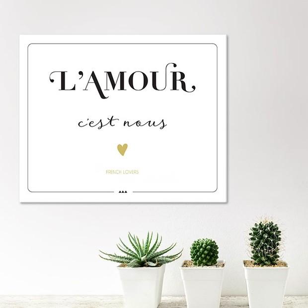 L'Amour c'est Nous! Petit tableau, impression sur toile - 33*41 cm