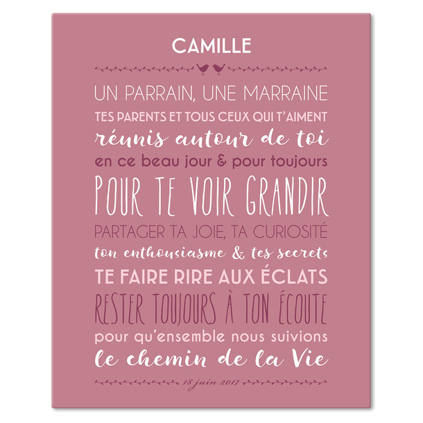 """Préférence Jolie Cérémonie"""" - Titre et date Personnalisés - Tableau Canvas 33  SF18"""