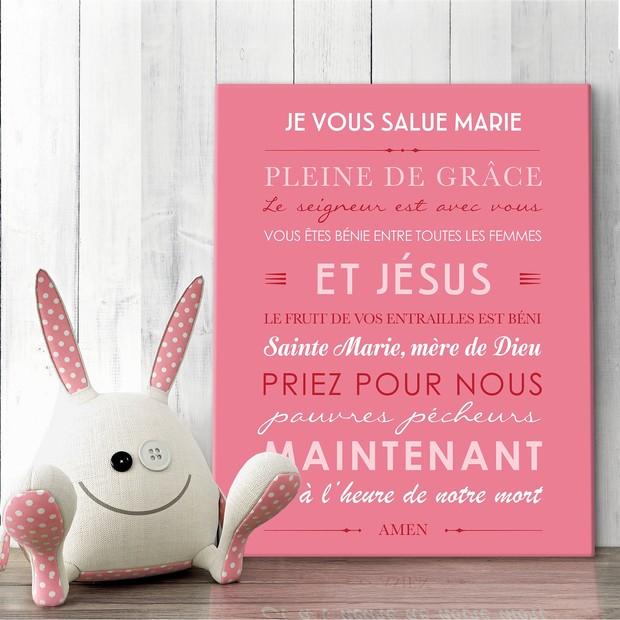 Je Vous Salue Marie, fond pink, tableau décoratif, Mes Mots Déco