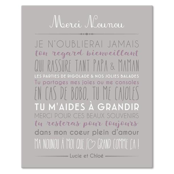 Merci Nounou, fond Blush, Sticker mural personnalisable, Mes Mots Déco