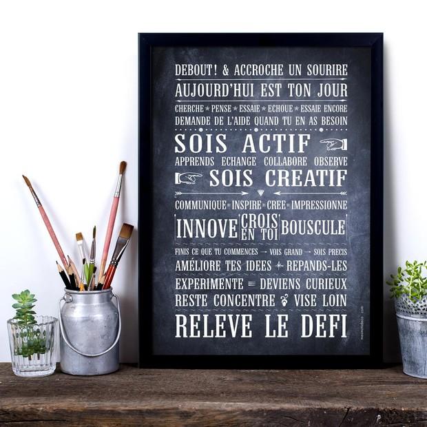 Relève le Défi, fond Chalkboard, Carte décorative, Mes Mots Déco