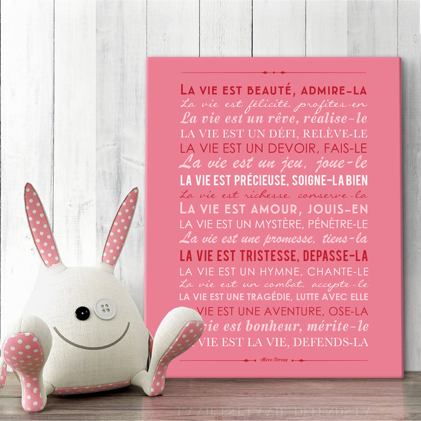 """""""La Vie est Beauté"""", fond gris galet, tableau décoratif, Mes Mots Déco"""