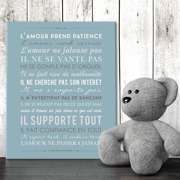 """""""L'Amour prend Patience"""", fond ardoise, tableau décoratif, Mes Mots Déco"""