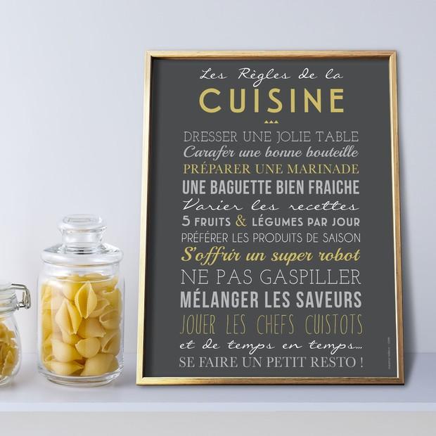 Les Règles de la Cuisine, fond carbone, affiche à encadrer, Mes Mots Déco