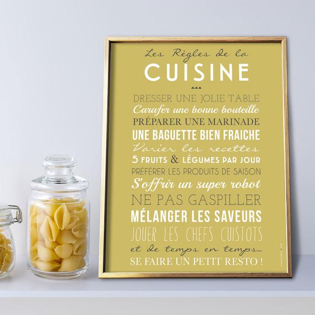 Les Règles de la Cuisine, fond curry, affiche à encadrer, Mes Mots Déco