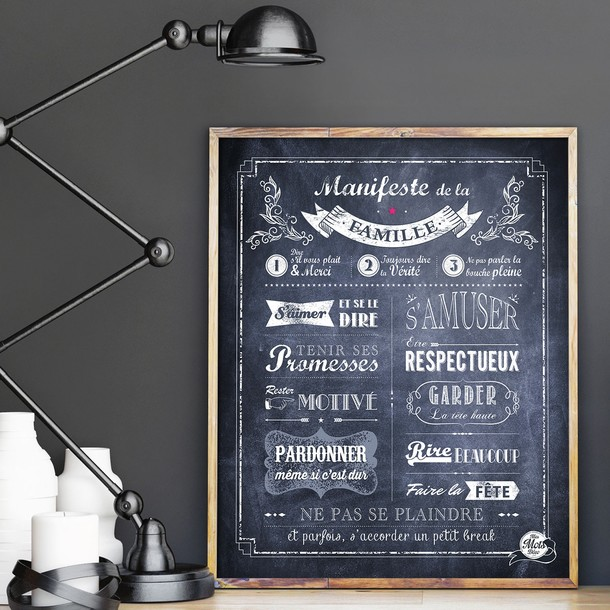 Manifeste de la Famille - fond Chalkboard - Affiche à encadrer - Mes Mots Déco