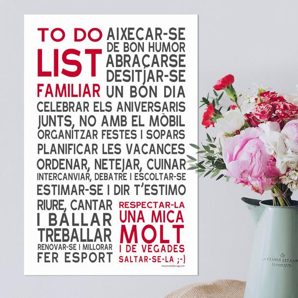 To Do List Familiar, fond blanc, sticker mural, version catalane, Mes Mots Déco