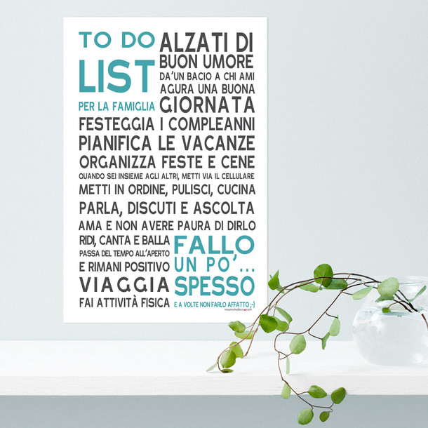 To Do List Familiar, fond blanc, sticker mural, version italienne, Mes Mots Déco