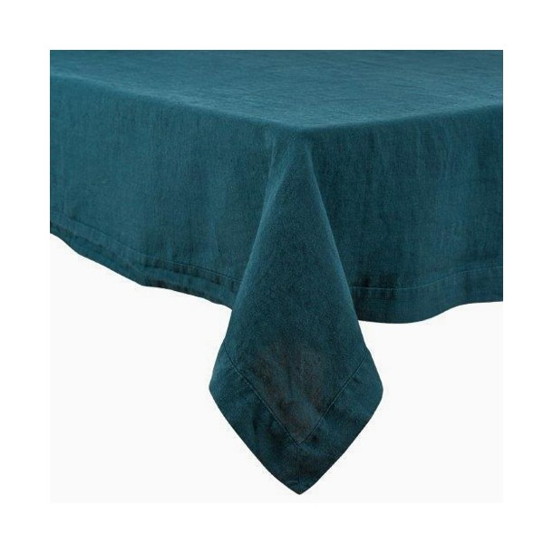 Nappe en lin lavé unie, coloris Bleu de Prusse, Mes Mots Déco