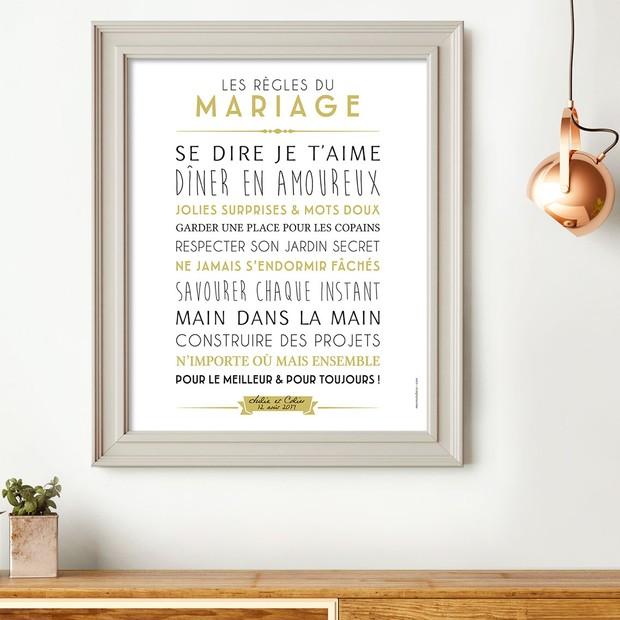 Les règles du mariage, fond blanc, affiche à encadrer, Mes Mots Déco
