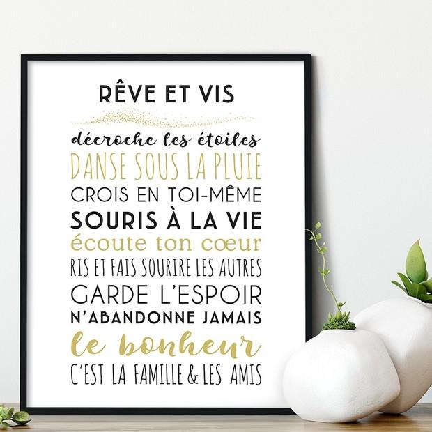 """Affiche à encadrer """"Reve et vis"""", fond blanc, Mes Mots Déco"""