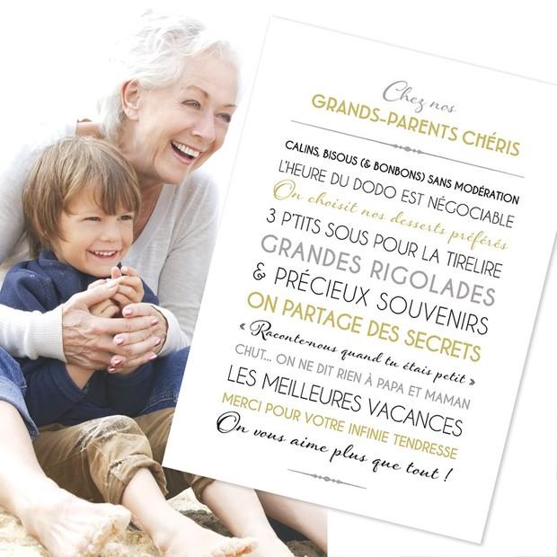 Grands Parents Chéris, fond blanc, carte décorative, Mes Mots Déco