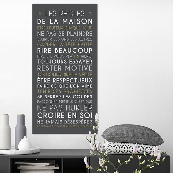 carte affiche encadrer et tableau d coratif les r gles de la maison. Black Bedroom Furniture Sets. Home Design Ideas