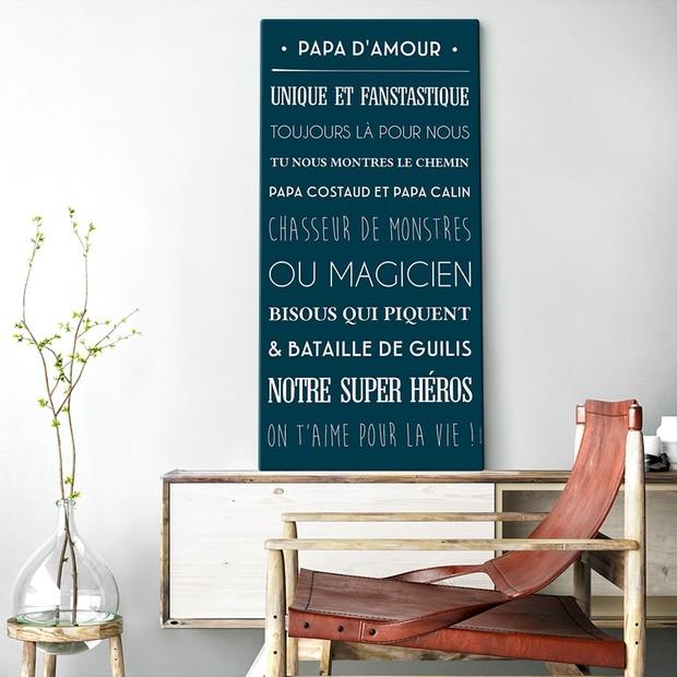 """Tableau décoratif """"Papa d'amour"""", fond bleu marine, Mes Mots Déco"""