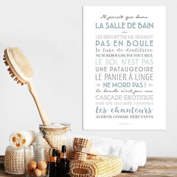 """""""Dans la Salle de Bain"""", fond blanc, texte bleu glacier, pancarte décorative, Mes Mots Déco"""