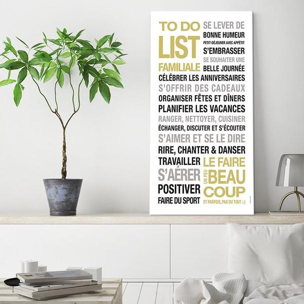 To Do List de la famille or, fond blanc, affiche adhésive, Mes Mots Déco