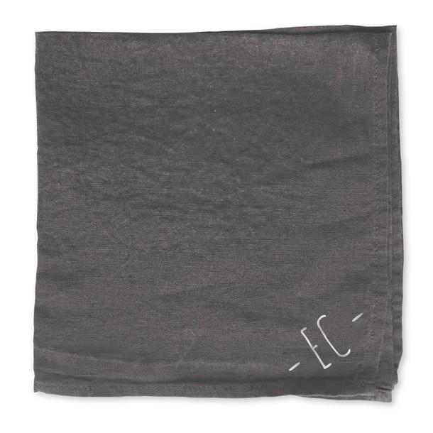 serviette en lin lavé, Ardoise imprimé argenté, Mes Mots Déco
