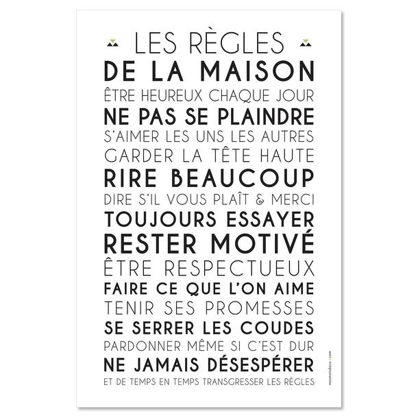 Carte Affiche A Encadrer Et Tableau Decoratif Les Regles De La Maison