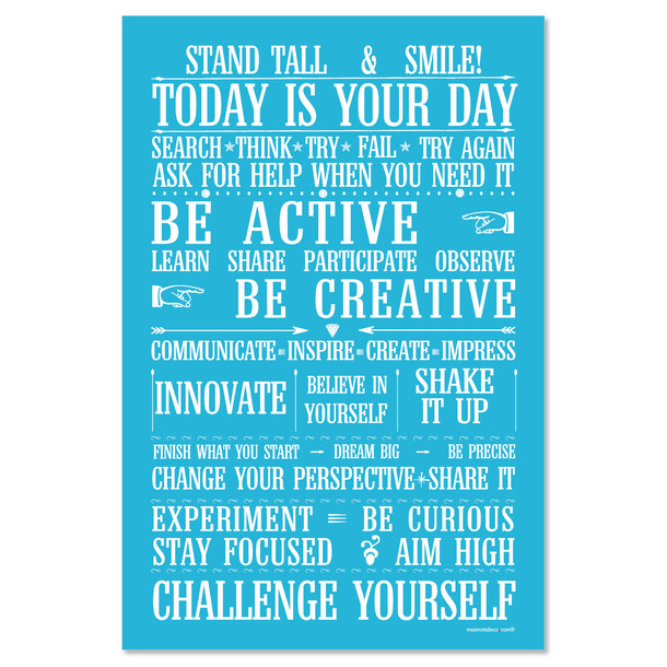 Challenge yourself, fond turquoise, sticker mural, version anglaise, Mes Mots Déco