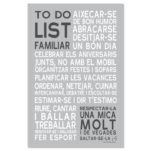 To Do List Familiar, fond gris, sticker mural, version catalane, Mes Mots Déco