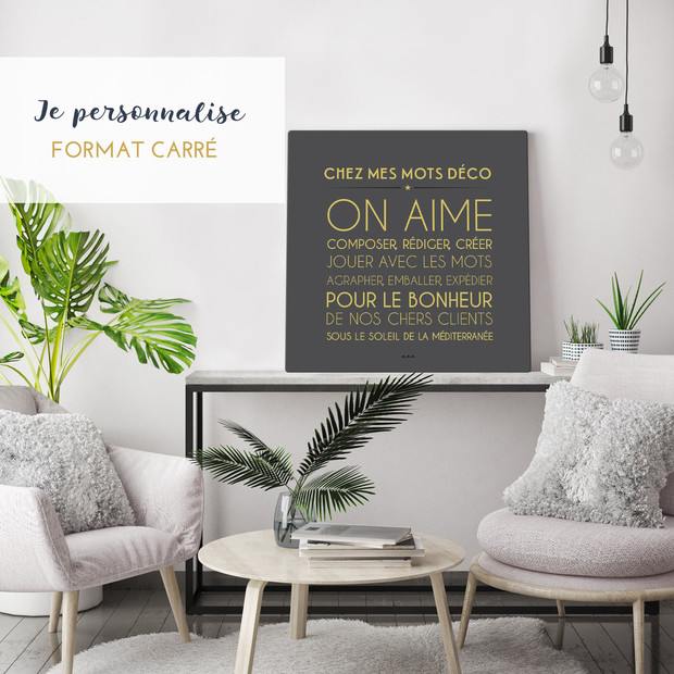 tableaux de mots et linge de maison personnalis s. Black Bedroom Furniture Sets. Home Design Ideas